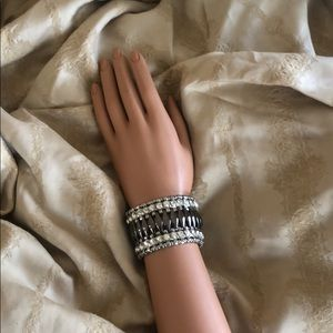 Gun Metal and Rhinestone Cuff Bracelet